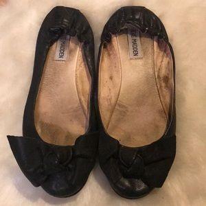 Steve Madden Black leather bow flats size 7